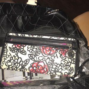 Authentic Coach  Floral Graffiti Wristlet Wallet